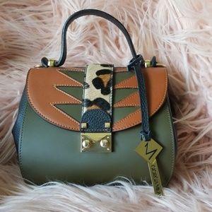 Small Italian leather satchel w/ calf hair detail